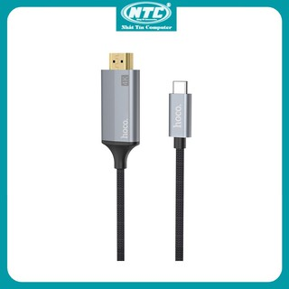 Cáp chuyển đổi TypeC sang HDMI Hoco UA13 vỏ hợp kim nhôm, hỗ trợ 4K, dài 1.8M (Xám) - Nhất Tín Computer