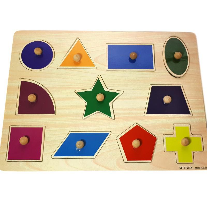 Đồ chơi gỗ - Combo 3 bảng hình núm gỗ