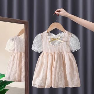 Girls Summer2021New Lolita Skirt Children's Fashionable Dress Baby Girl Bubble Sleeve Princess Dress