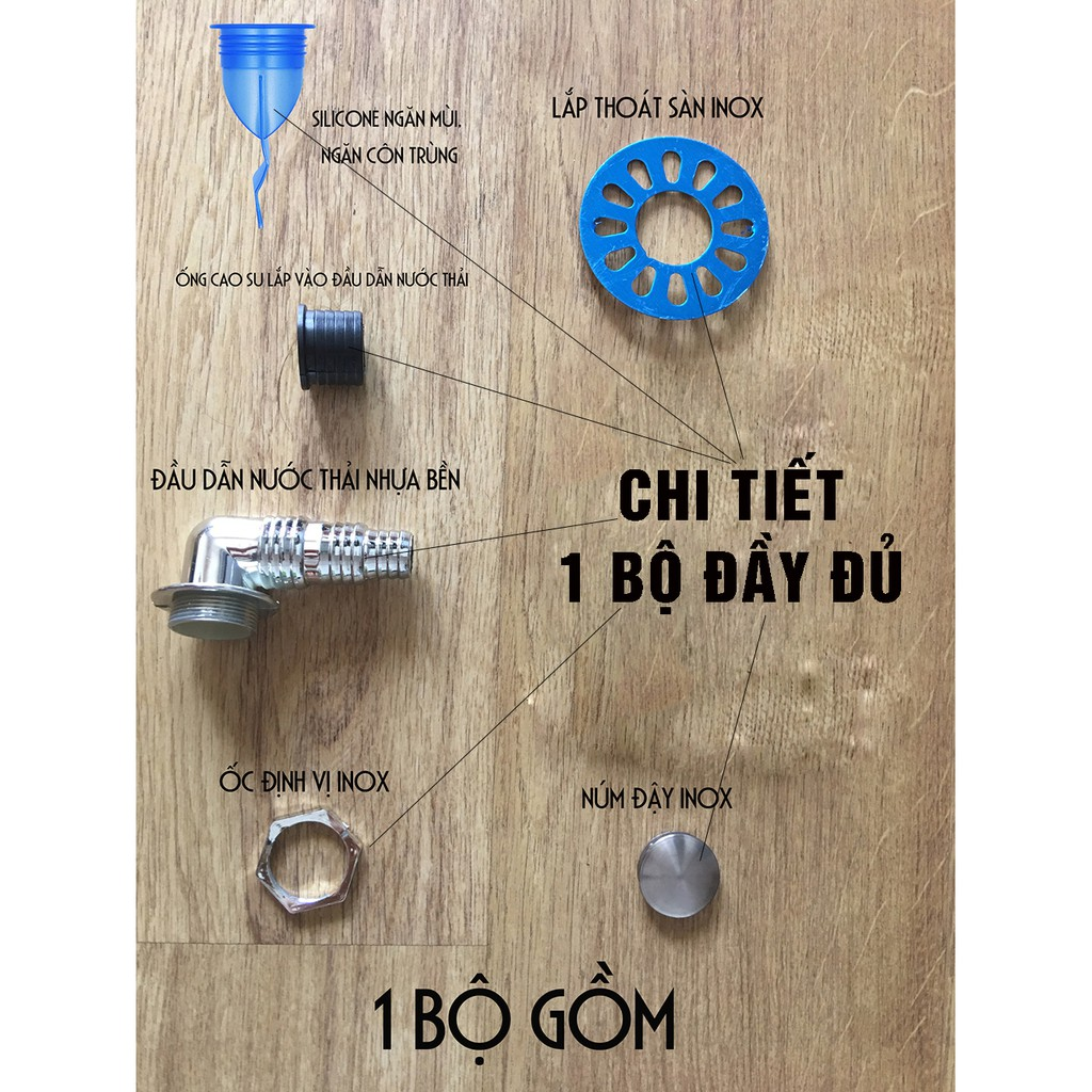 Bộ thoát nước máy giặt, thoát nước thải chống mùi hôi, ngăn côn trùng lắp thoát sàn, ống PVC Minh House