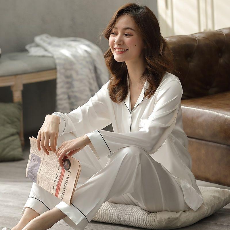 Mặc gì đẹp: Yêu thương với đồ ngủ pyjama đôi nữ vải lụa dài tay mùa xuân và mùa thu quần dài hai mảnh đồ ngủ rộng rãi cho nam dịch vụ tại nhà XL