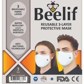 Combo 3 cái Khẩu trang BEELIF tiêu chuẩn châu US chống thấm nước Ngăn ngừa giọt bắn 3 lớp - NSX May 10 thumbnail