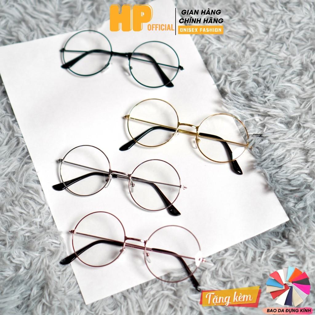 Gọng kính cận ngố tròn 💗Kính mát giả cận Nobita Oval form Hàn Quốc nam nữ thời trang K4
