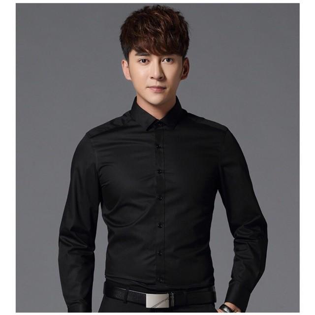 sơ mi nam Cổ Bẻ Đen không nhăn -Dáng ôm Hàn Quốc Body chuẩn chuẩn thoải mái Dài tay