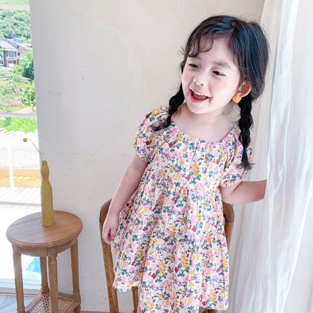 Váy Cho Bé Gái Hoa Nhí Tay Bồng Nơ Lưng