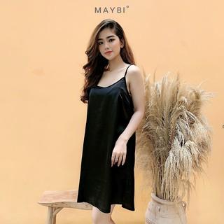 [Mã MAYBI100 giảm 100K đơn từ 599K] MAYBI - Đầm suông 2 dây đen Black short silk night dress thumbnail