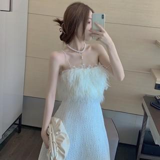[ORDER] Váy dạ 2 dây ngọc vải dạ mix lông siêu xinh