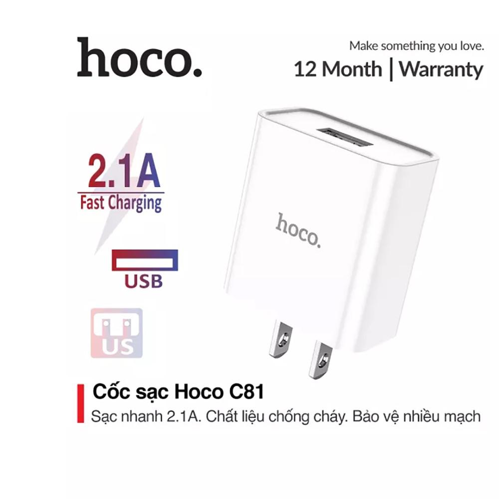 ⚡NowShip⚡ Cốc Sạc Nhanh Hoco C81 2.1A Chất Liệu PVC An Toàn Cho Điện Thoại iPhone Samsung Huawei Xiaomi Oppo... H2N