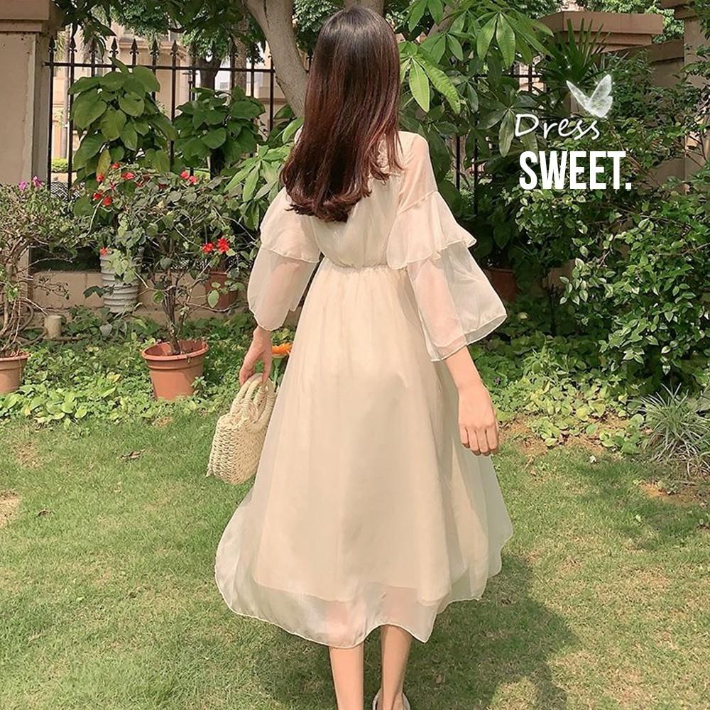 Mặc gì đẹp: Tung bay với Váy / Đầm công chúa tay dài xòe dáng dài voan tay bồng Ulzzang Hàn Quốc bánh bèo dễ thương V00054