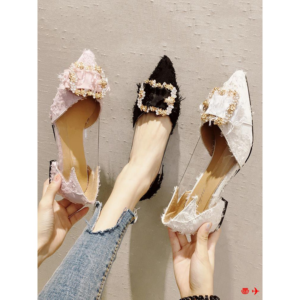 !Net red single shoes female 2019 new spring wild with pointed night late shoes Korean version of the thick with fairy p