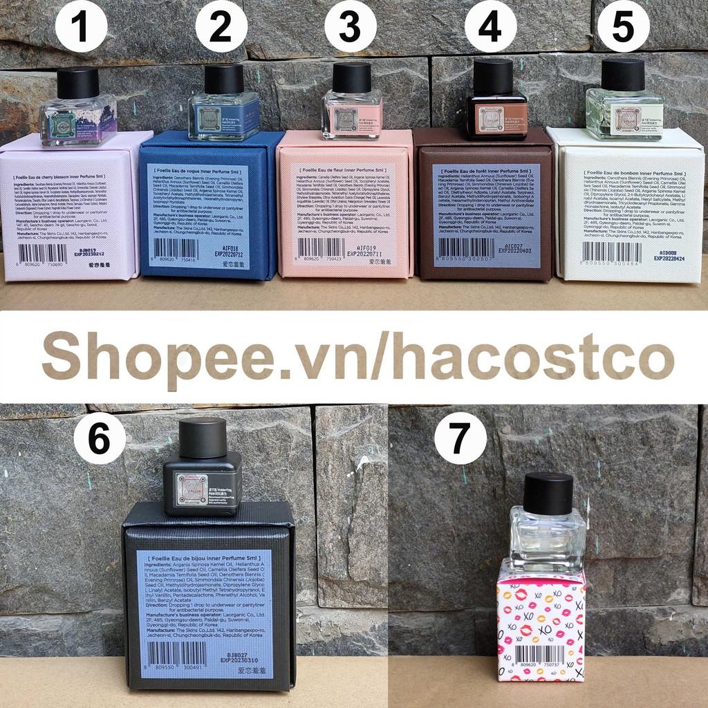 [Mã COSHOT24 hoàn 8% xu đơn 250K] Nước Hoa Vùng Kín Foellie Eau De Inner Perfume 5ml - Có nhiều màu