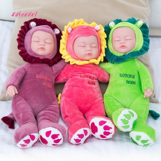 XA_35cm Soft Cartoon Lion Monkey Rabbit Plush Stuffed Toy Reborn Baby Sleeping Doll