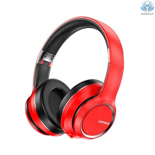 【enew】Lenovo HD200 Wireless BT Headset BT5.0 Noise-cancelling Stereo Headset Foldable Headphoe for Cellphone PC Laptop Red