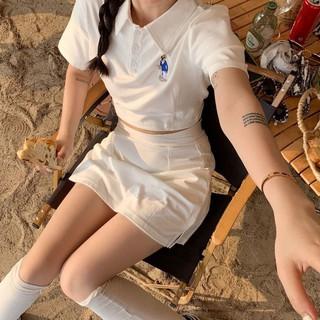 Bộ Áo Thun Ngắn Tay + Chân Váy Ngắn Thời Trang Mùa Hè Hàn Quốc Cho Nữ 2021