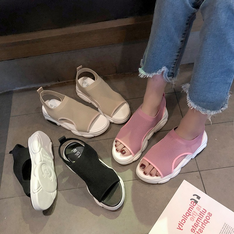 Mesh sandals female students wild 2019 summer new thick bott