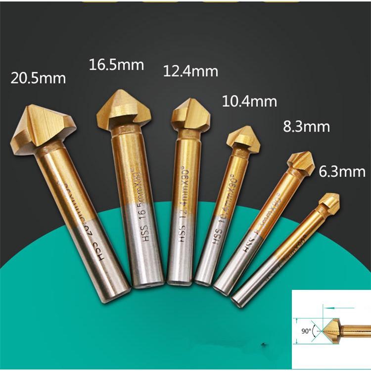 Bộ 6 mũi doa lỗ khoan nhôm gỗ phủ Titanium