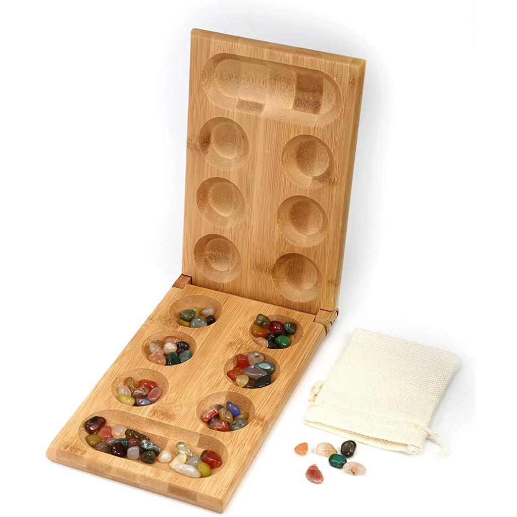 Trò chơi dân gian Ô ĂN QUAN (Mancala) gỗ tre cao cấp, trò chơi tư duy tặng kèm 1 túi đựng sỏi