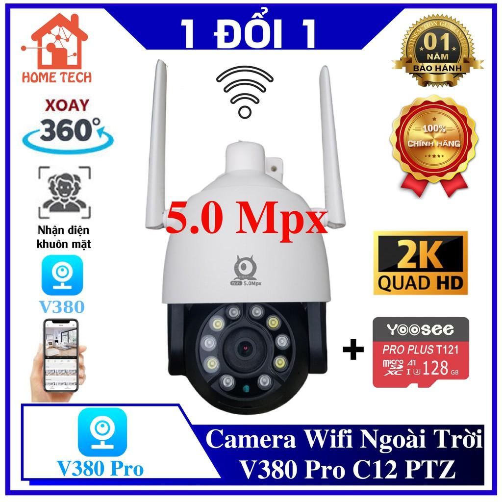 [KÈM THẺ NHỚ] Camera Wifi Ngoài Trời V380 Pro C12 HD PTZ 5.0 Megapixel 1296P Xoay 360 Độ, Theo dõi thông minh