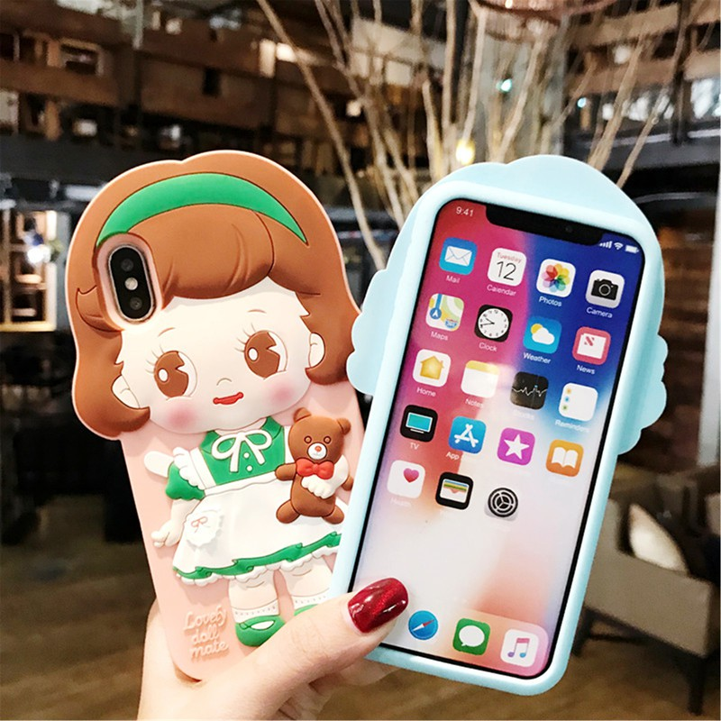  LC Casing iPhone 6/6S/6P/7/8/7P/8P/iPhoneX Phone Casing British Doll Silicone Lovely
