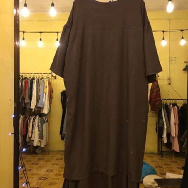 Váy nâu linen vintage form siêu rộng dài xinh xắn cực kỳ
