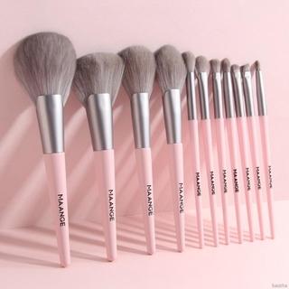VICTOR 11 PCS Wooden Foundation Cosmetic Eyebrow Eyeshadow Brush Makeup Brush Sets Tools Multifunctional