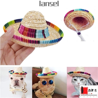 LANSEL Adjustable Pet Straw Hat Buckle Pet Ornaments Mexican Straw Cap Colorful Costume Cat Dog Supplies Sombrero