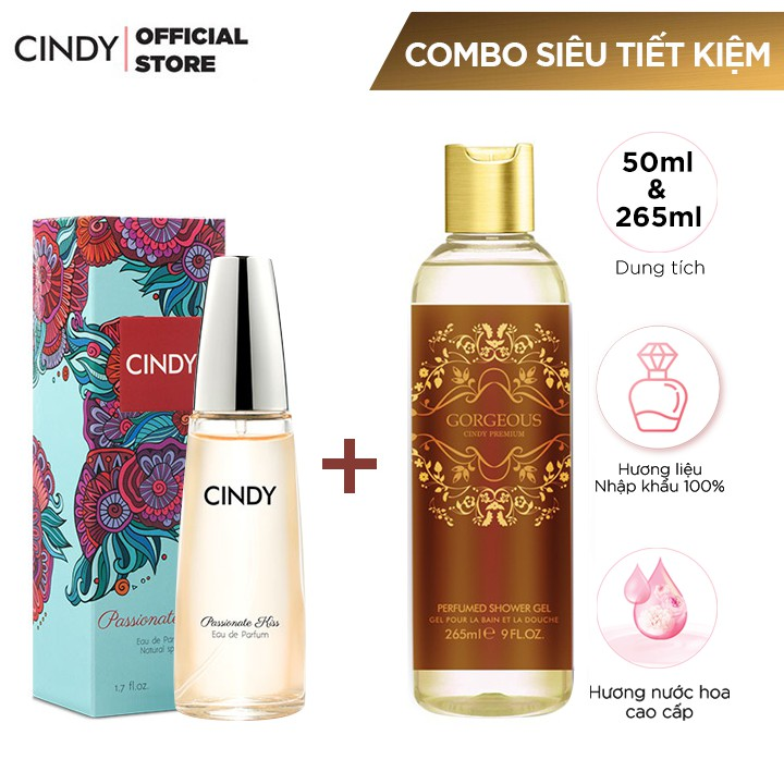 Combo Nước Hoa Cindy Passionate Kiss 50ml + Sữa tắm Cindy Premium 265ml