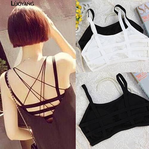 Sporty  Stripes Padded Bra Tank Top Sleeveless Mini Vest