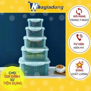 Set 5 Hộp Đựng Đồ, Thực Phẩm Bảo Quản Tủ Lạnh Đa Năng Thông Minh Có Nắp Đậy Cao Cấp