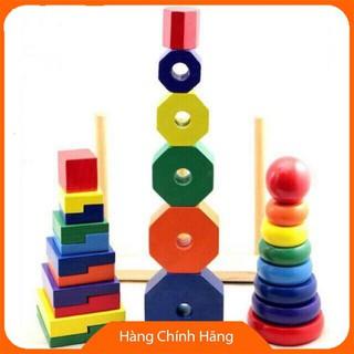 [Trợ giá] [Mã TOYSEP giảm 10% tối đa 15K đơn bất kỳ] Đồ chơi bộ 3 tháp cầu vồng thả hình khối size lớn cho bé