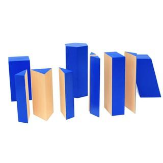 Giáo cụ Montessori – Khối hình học xanh – Đồ chơi toán học hỗ trợ nhận biết khối lượng
