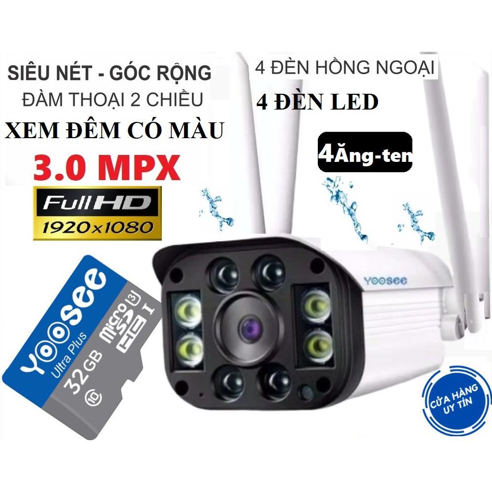 Camera IP Yoosee ngoài trời 4 Râu 3.0 Mpx XEM ĐÊM CÓ MÀU SIÊU NÉT