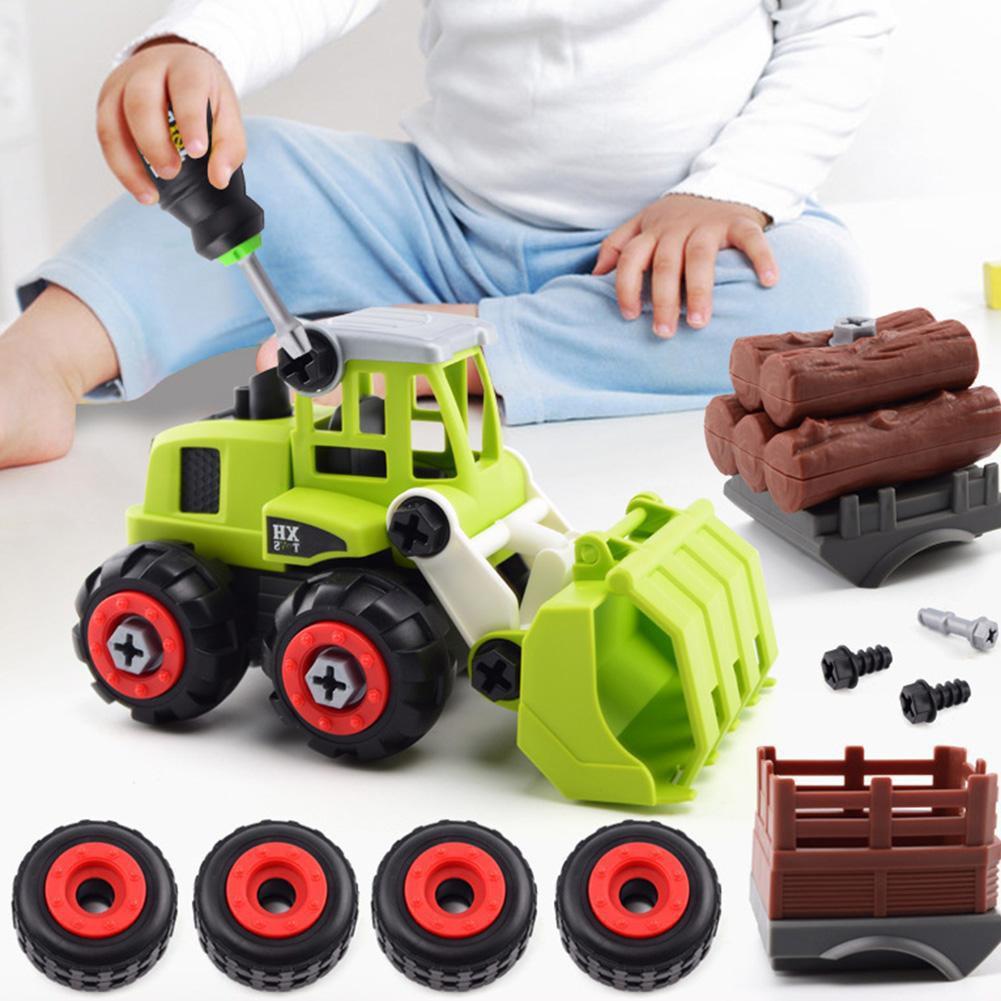 Bộ ô tô đồ chơi giáo dục xe tải mô hình 4 chiếc mới trong 1 bộ, Khối vặn vít Máy xúc, Ô tô tải máy kéo nông trại lắp ráp