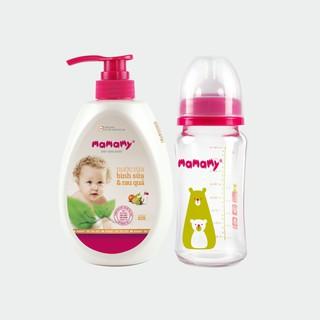 Combo Bình Sữa Thủy Tinh Cổ Rộng Chống Sặc Cho Bé Mamamy 240ml và Chai nước rửa bình sữa và rau quả Mamamy 600ml