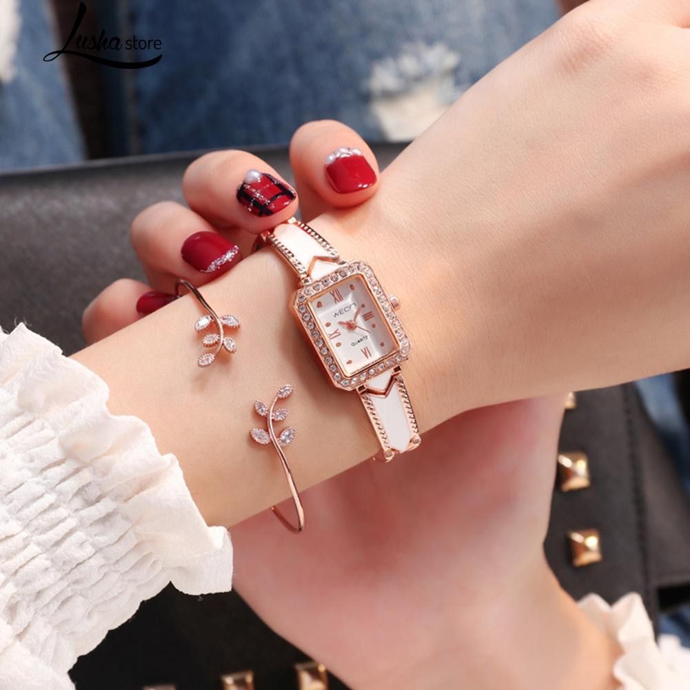 Zirconia Rectangle Dial Roman Numerals Alloy Strap Quartz Watch