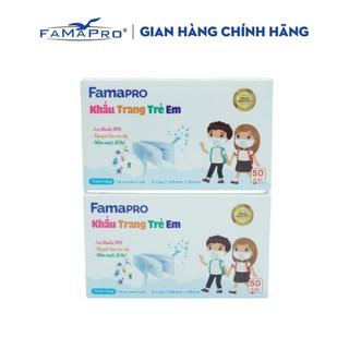 Combo 2 hộp khẩu trang y tế trẻ em kháng khuẩn 3 lớp Famapro max kid ( 50 cái hộp ) thumbnail