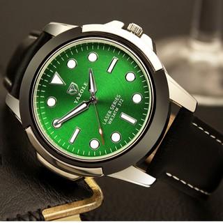 Đồng hồ nam Yazole 372 Dây da Dạ quang phong cách thể thao thumbnail