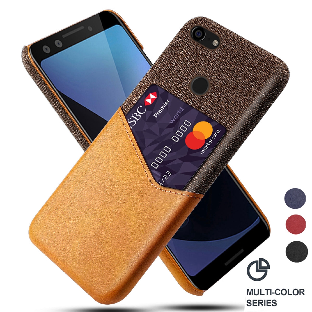 Google Pixel 3 XL 3a XL Pixel 2XL Case Luxury Leather Fabric Card Slot Shockproof Business Wallet Thin Cover