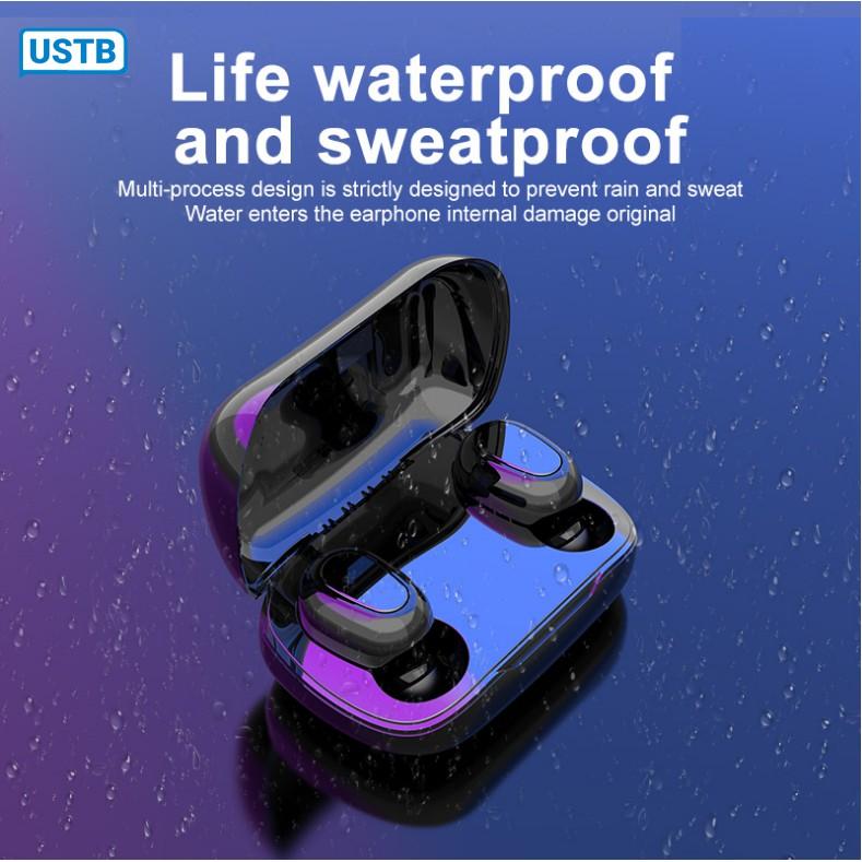 Tai nghe Bluetooth 5.0 không dây mini L21 TWS với âm thanh vòm 9D, phù hợp với điện thoại thông minh. Tặng kèm bao đựng sạc cho Android Iphone