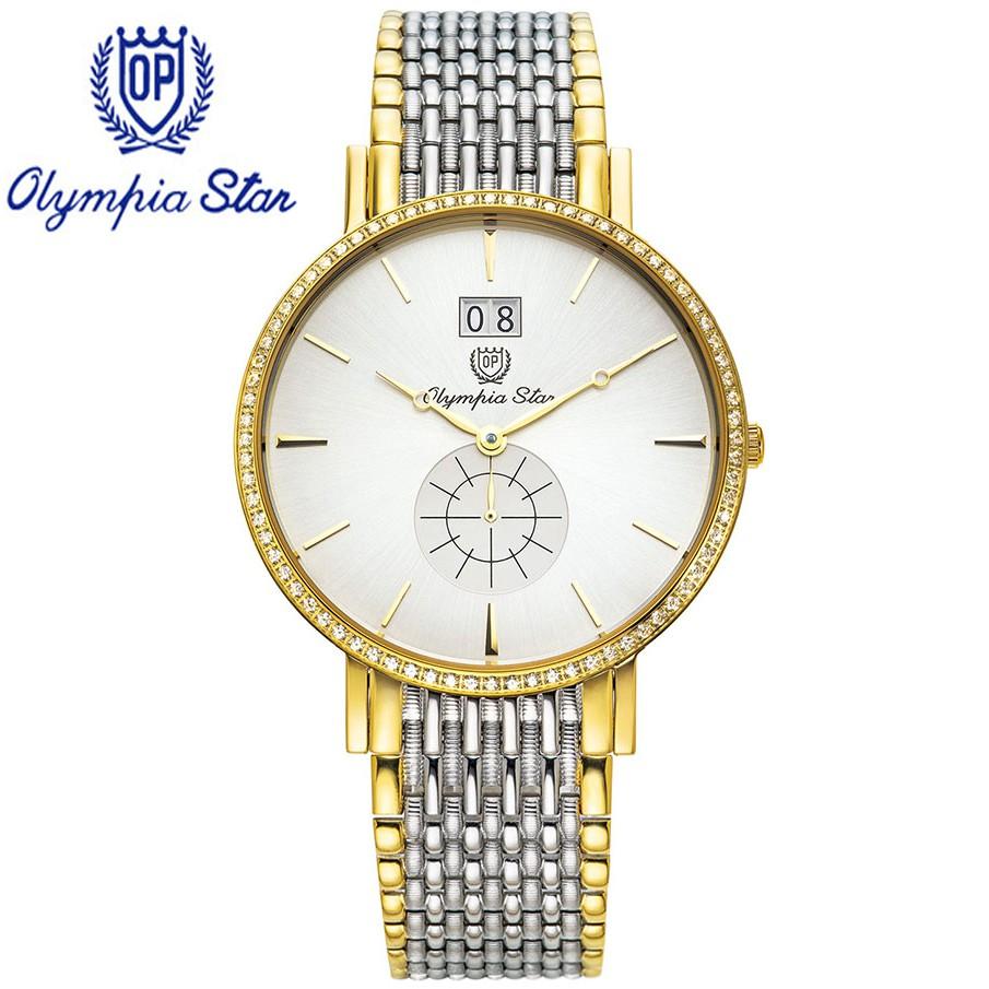 Đồng hồ nam dây kim loại mặt kính sapphire chống xước Olympia Star OPA58082-04DMSK-T