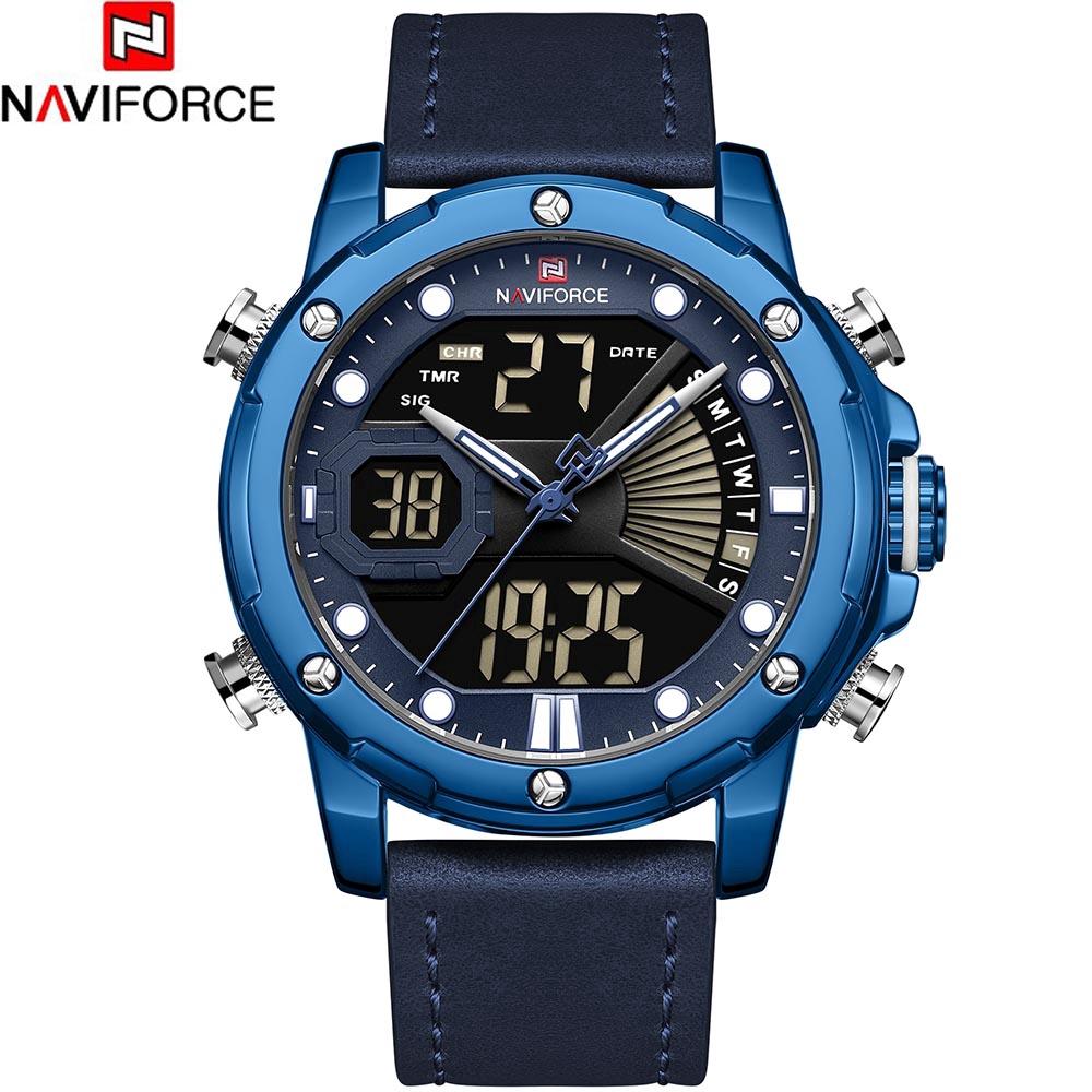 Đồng hồ thể thao Naviforce chống nước với dây đeo da