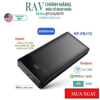 Pin sạc dự phòng RavPower RP-PB172 20000mAh, PD 3.0 18W & QC 3.0 18W- THƯƠNG HIỆU USA- HÀNG CHÍNH HÃNG