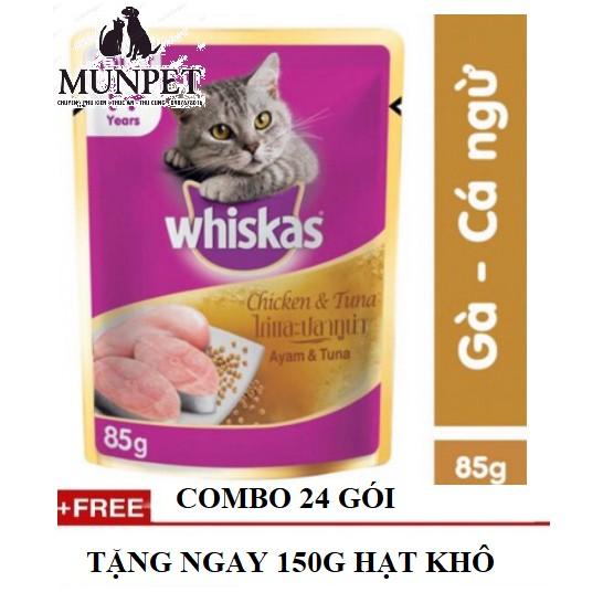 pate cho mèo Whiskas vị gà và cá ngừ 85g
