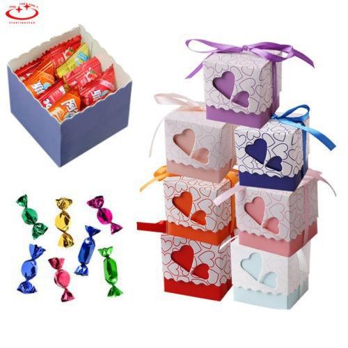 Set 10 hộp giấy với dây ruy băng chuyên dụng đựng bánh kẹo làm quà trang trí