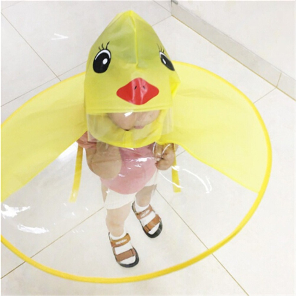 Foldable Cartoon Duck Kids Raincoat Umbrella UFO Shape Rain Hat Cape Striking