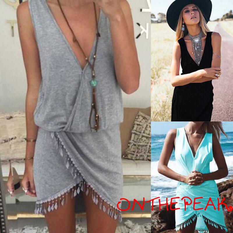 ℒℴѵℯ~Womens Summer Beach Cover Up Sleeveless Evening Party Beach Dress Best Hot
