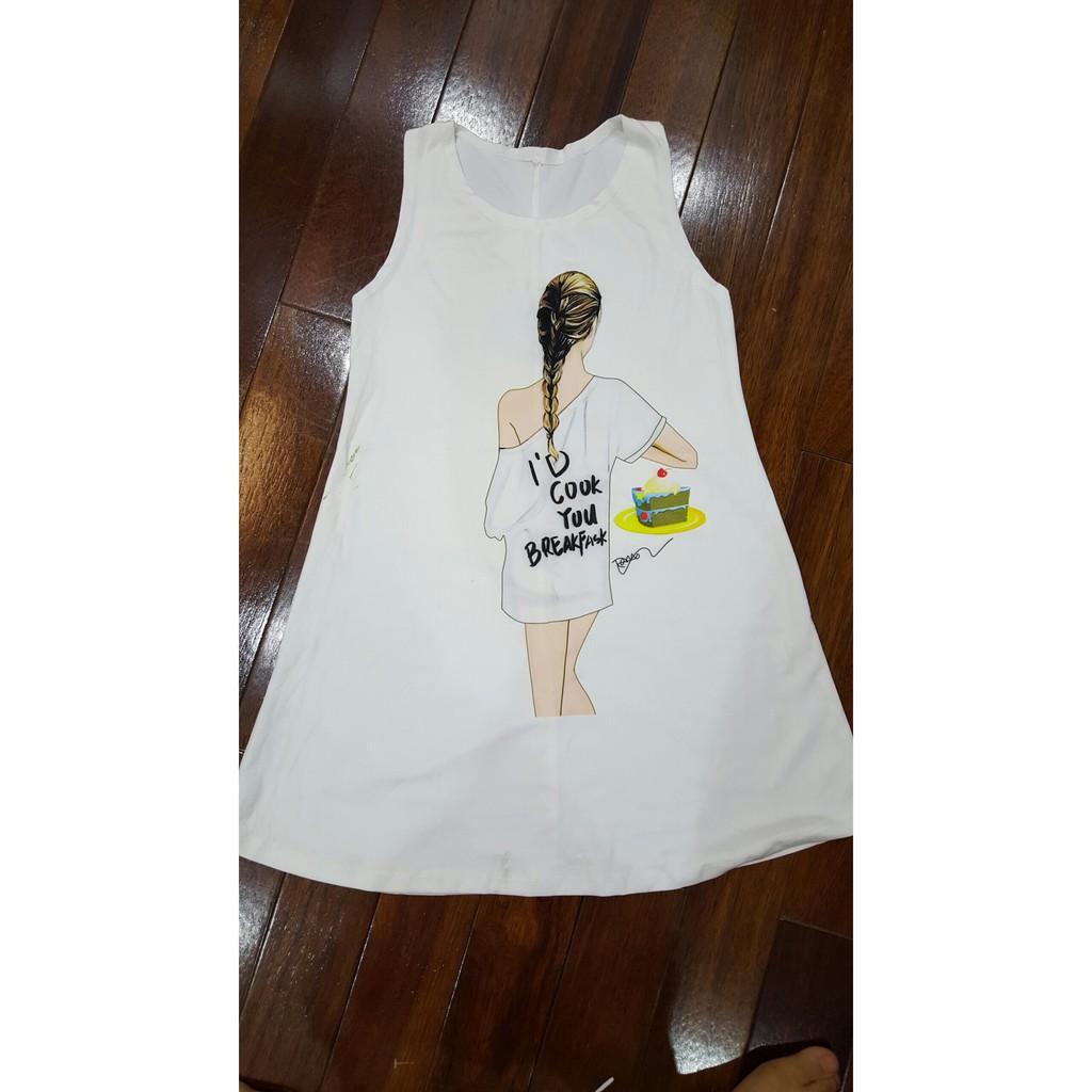 Váy trắng cô gái chất liệu mềm mát