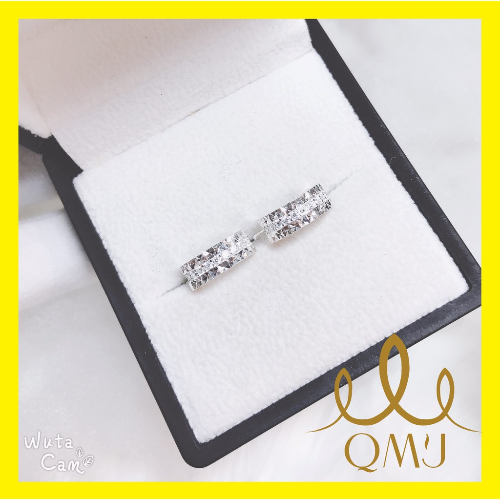 Bông tai bạc QMJ Mo sang chảnh, nạm đá tấm giữa 3 viền, khuyên tai thời trang nữ [BẠC CHUẨN] - QK002