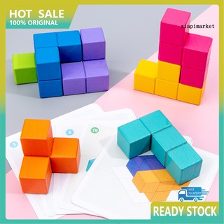 WJ_Children Educational Wooden Cube Building Block Assembly Set Kids Puzzle Toys