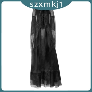 Look at me Women's Evil Witch Costume Halloween Party Fancy Long Dress Black Gown